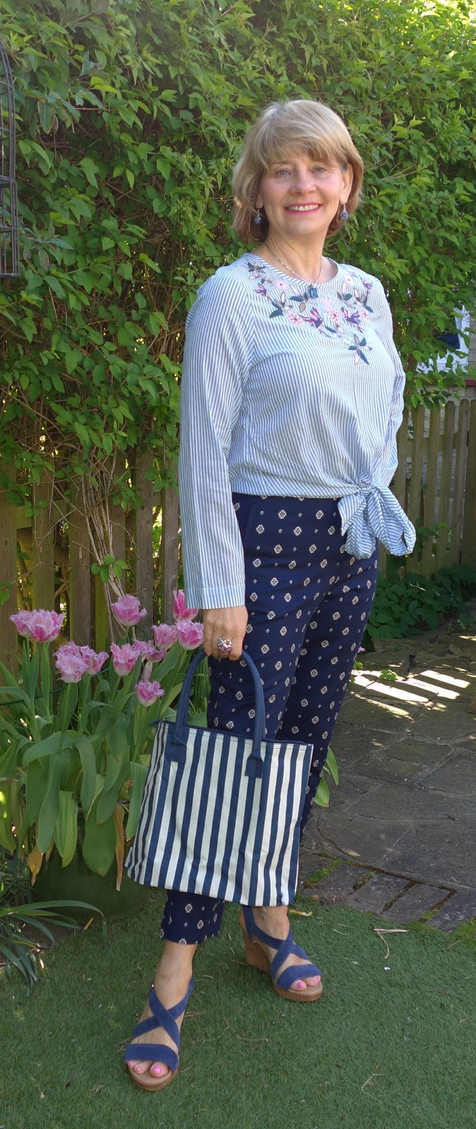 Stripey tie waist top, print trousers and denim wedges in the first Five Over 50 Challenge