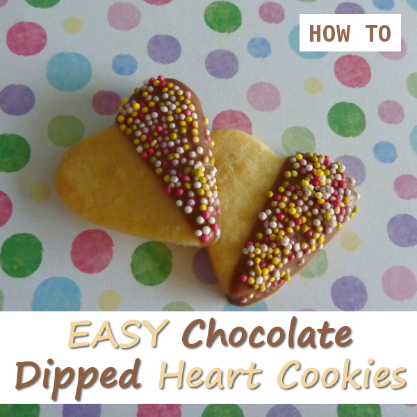 Easy to Make Chocolate Dipped Heart Shaped Cookies for Valentine's Day by CraftyMarie