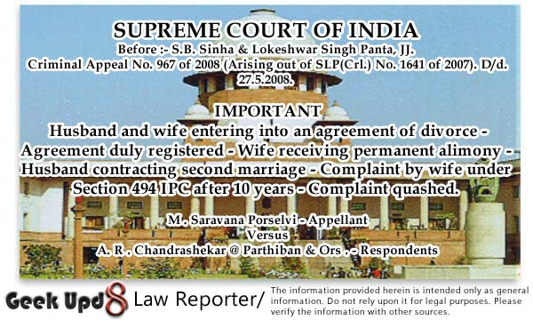 Quash of 498a filed 10 years after customary Divorce and Alimony terming it mala fide and Abuse of process of Court