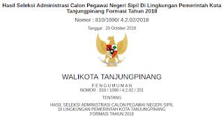 Hasil Seleksi Administrasi CPNS Kota Tanjung Pinang Tahun 2018