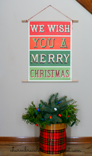 DIY vintage-inspired hanging poster wall art we wish you a Merry Christmas