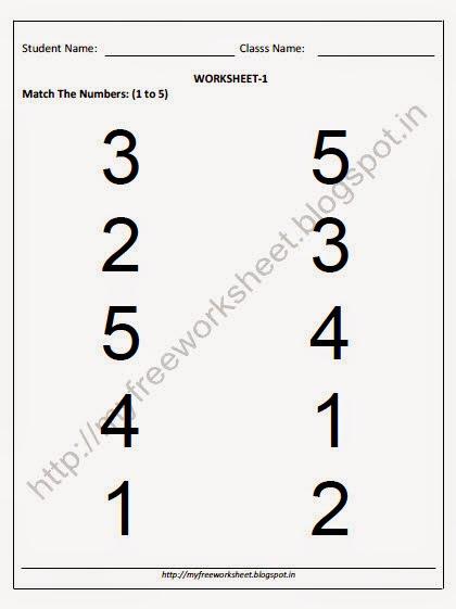 Free Number Matching Worksheets For Kindergarten - 1000 ideas ...