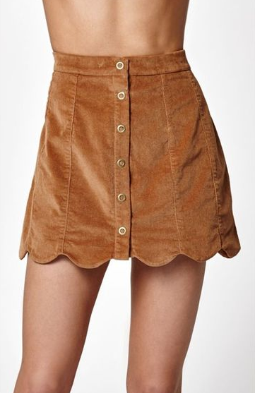 Scalloped Corduroy skirt