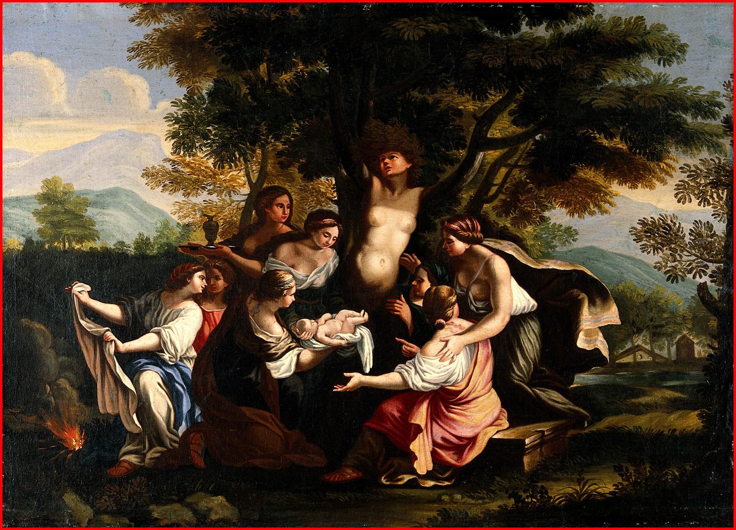 Natività, iconografia The_birth_of_Adonis_and_the_transformation_of_Myrrhariquadrata._Oil_pa_Wellcome_V0017239