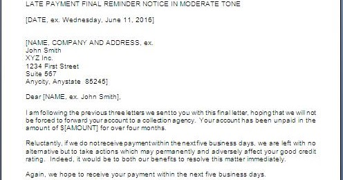 Overdue Payment Final Notice Letter