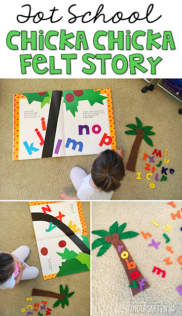 Chicka Chicka Boom Boom is such a fun story for practicing retelling. We love making our felt letters climb then fall out of the coconut tree. Perfect for tot school, preschool, or even kindergarten.