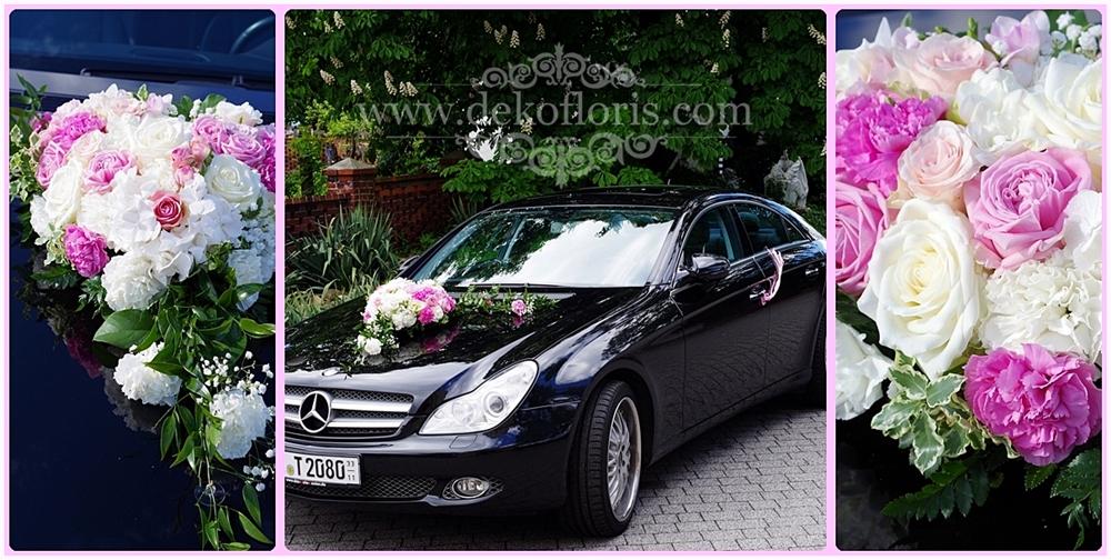 Różowa dekoracja samochodu ślubnego opolskie