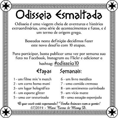 Odisseia Esmaltada, Quinta Etapa, Cor Texturizada, Milani, 904 Yellow Mark, Amarelo, Zoya, Lorna, Magenta, Watcha, preto, Noir, Wet'n Wild,  Atten Hut!, Verde, OPI, Get Your Number, azul,