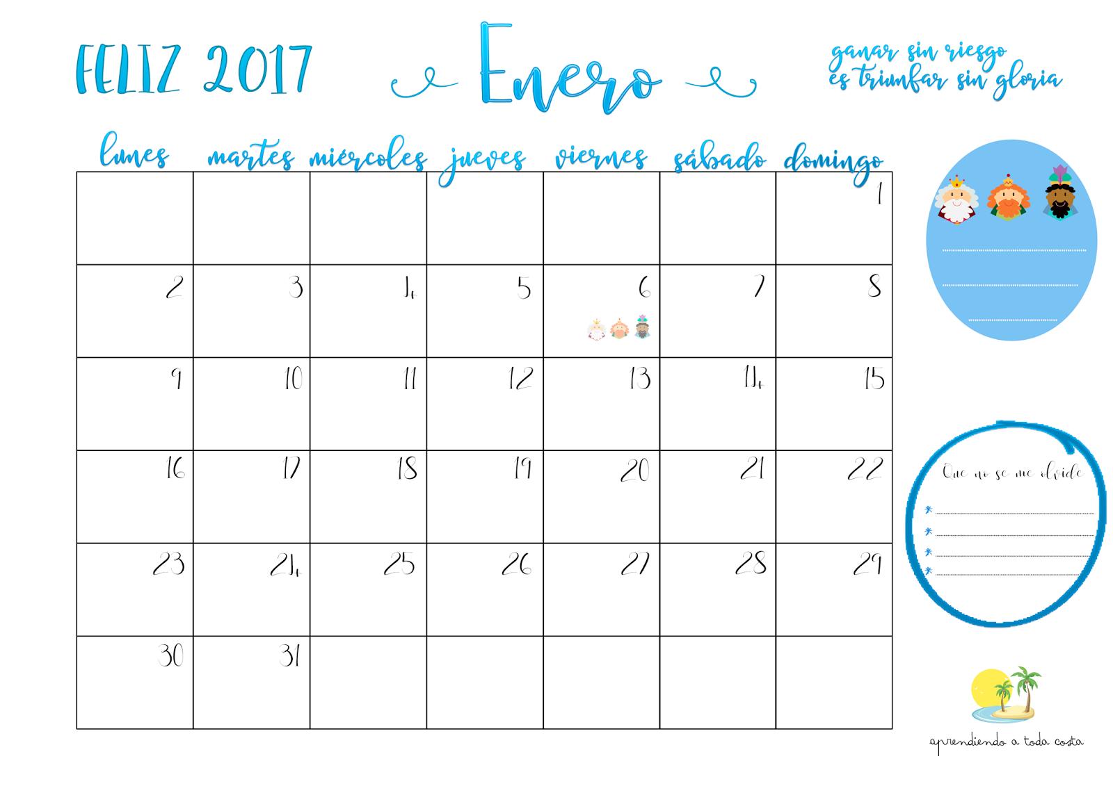 Calendario Enero - Descargar