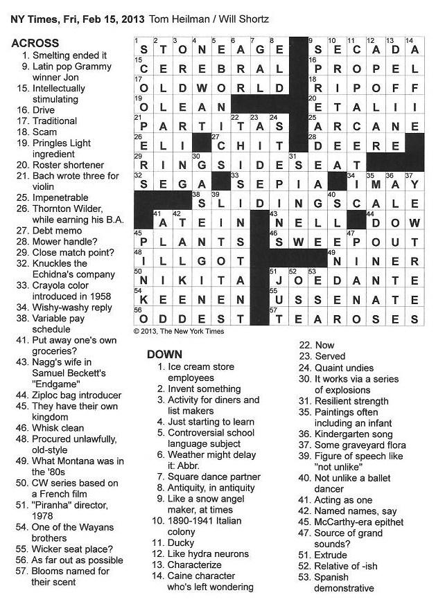 The New York Times Crossword in Gothic: 02.15.13 — Snow Angel