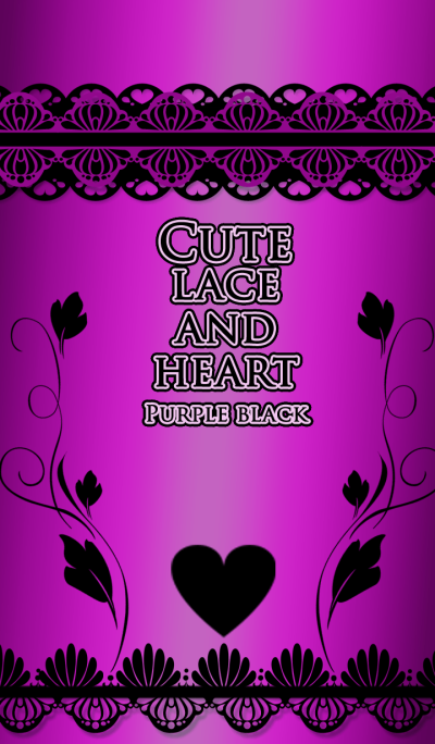 Cute lace and heart Purple black