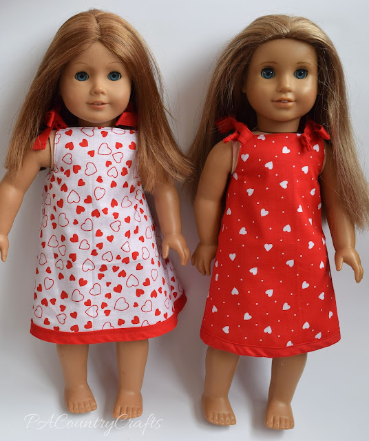Reversible Valentine doll dresses made with fat quarters and bias tape.