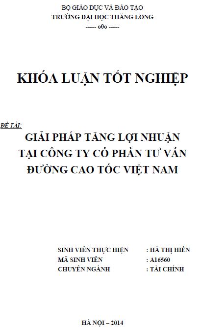 Giải pháp tăng lợi nhuận tại Công ty cổ phần tư vấn đường cao tốc Việt Nam