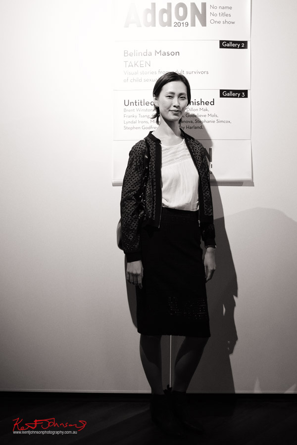 A very tall lady at the Add On exhibition - Photo by Kent Johnson for Street Fashion Sydney.