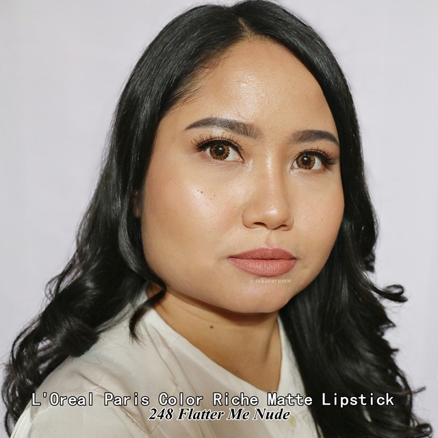 Lip Swatch L'oreal Matte Lipstick Flatter Me Nude