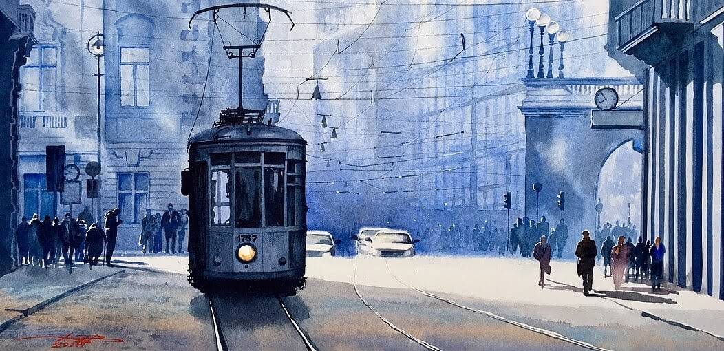 07-Blues-Morning-in-Milan-Igor-Dubovoy-A-Love-for-Travelling-and-Realistic-Watercolour-Paintings-www-designstack-co