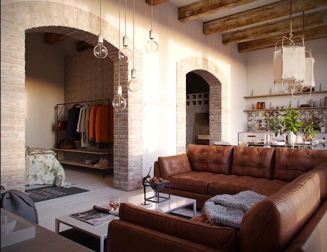 Proiect de amenajare rustic și contemporan pentru un apartament de 2 camere
