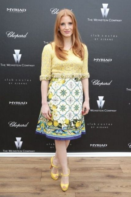 Jessica Chastain in a yellow Dolce & Gabbana dress at Cannes 2014