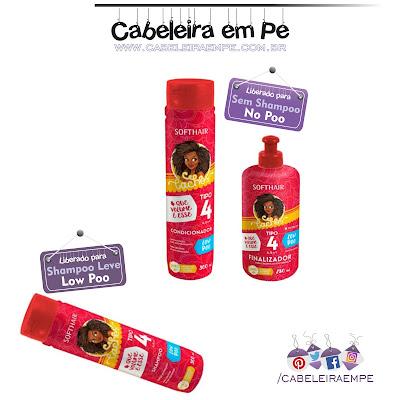 Linha Cachos Tipo 4 - Soft Hair. Shampoo sem sulfato liberado para Low Poo. Condicionador e Creme para pentear (finalizador) liberados para No Poo sem silicones e petrolatos.