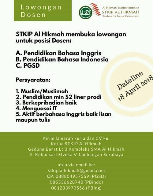 Lowongan Dosen PGSD STKIP Al Hikmah Surabaya