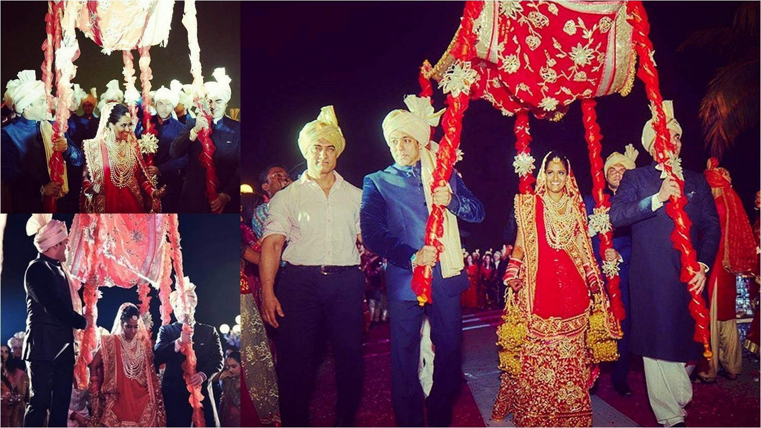 Aamir Khan, Salman Khan, Sohail Khan, and Arbaaz Khan getting Arpita to marriage venue