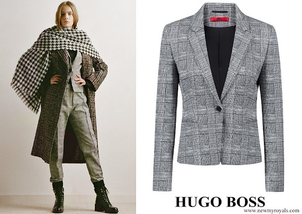 Queen Letizia wore Hugo Boss patterned slim-fit blazer in black and white check