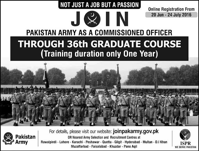Army Jobs in Pakistan as a Commissioned Officer 2016