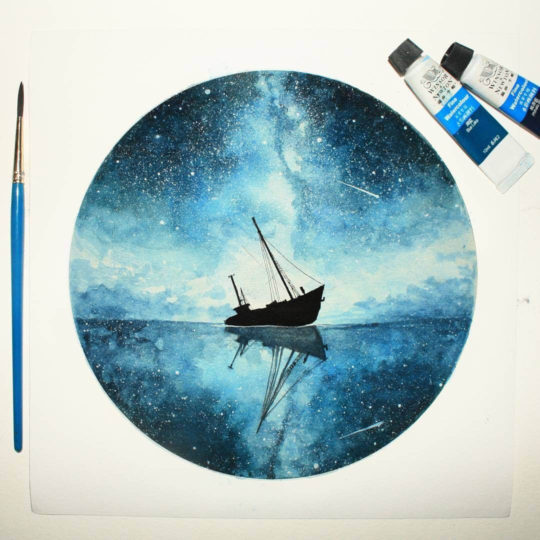 08-Anchored-To-My-Dreams-Prakersh-Blue-and-Round-Fantasy-Watercolor-Paintings-www-designstack-co