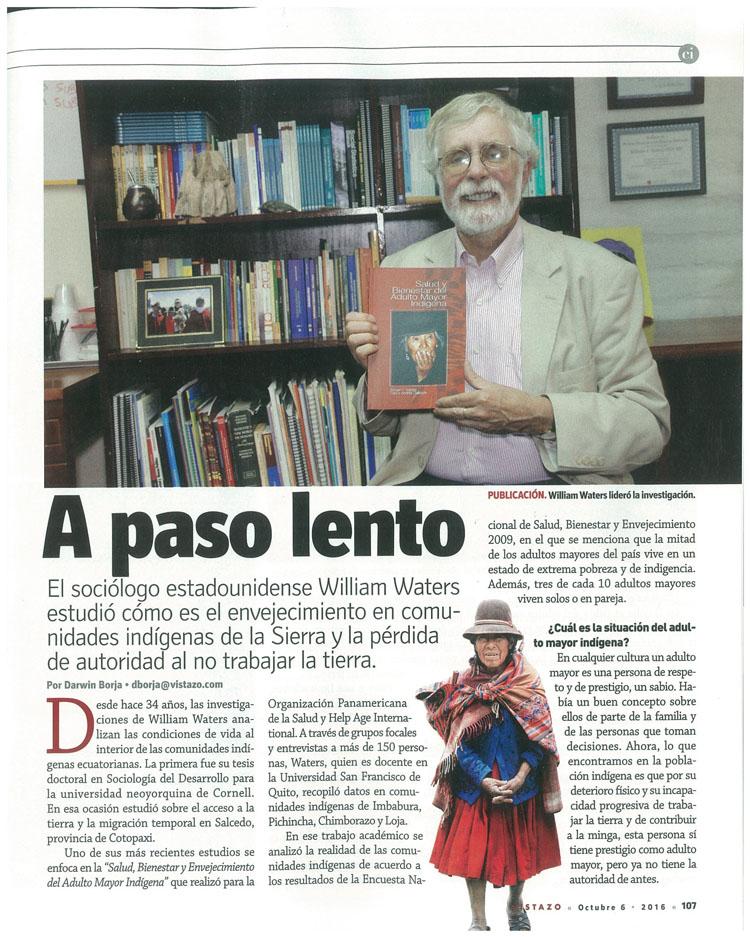 """""""Salud, Bienestar y Envejecimiento del Adulto Mayor Indígena""""  Recuperado revista Vistazo"""