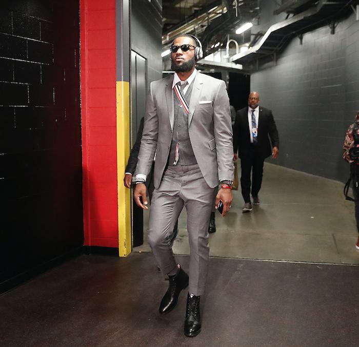 Lebron James wearing Thom Browne before game against Toronto Raptors in Ontario.