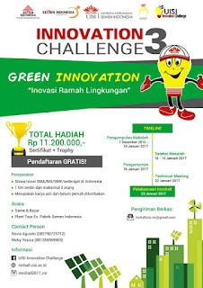 Lomba Karya Tulis Ilmiah UISI Green Innovation Challange 3 (DL Januari 2017)