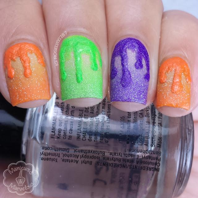 40 Great Nail Art Ideas - Orange, Green, Purple over Nude (13 Days of Halloween)