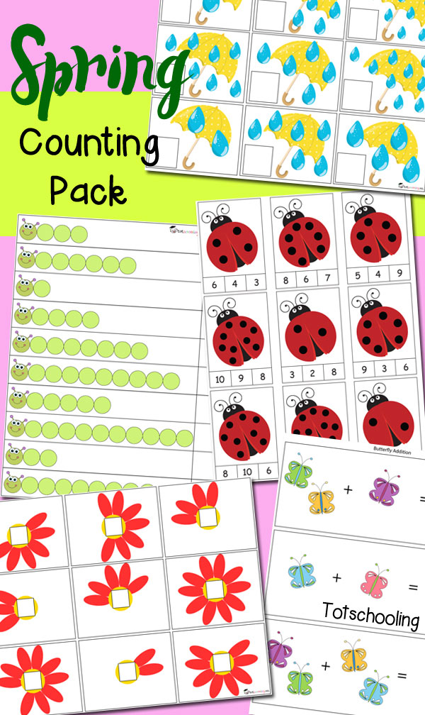 FREE Spring themed counting printables for preschoolers, featuring counting raindrops, ladybug spots, flower petals, caterpillars, and adding butterflies!