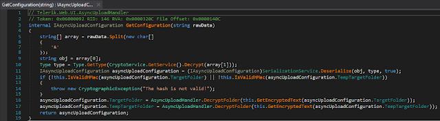"// Telerik.Web.UI.AsyncUpload.SerializationService internal static object Deserialize(string obj, Type type) {  JavaScriptSerializer serializer = SerializationService.GetSerializer(obj.Length);  SerializationService.ApplyConverters(type, serializer);  MethodInfo methodInfo = typeof(JavaScriptSerializer).GetMethod(""Deserialize"", new Type[]  {   typeof(string)  }, null).MakeGenericMethod(new Type[]  {   type  });  return methodInfo.Invoke(serializer, new object[]  {   obj  }); }"