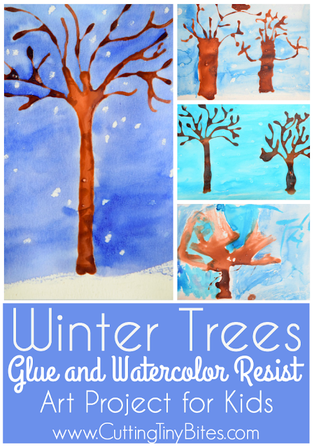 Winter tree craft using glue and watercolor resist. Easy painting project for preschoolers, kindergarteners, and elementary kids.