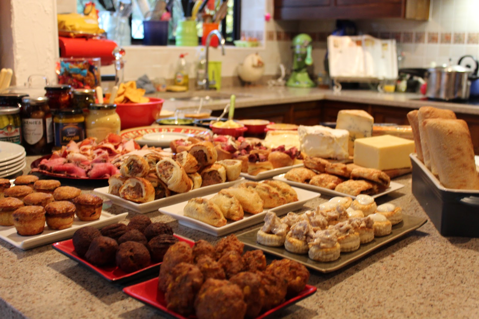 Boxing Day Traditional Buffet Cold Cuts Pickles Beets Mini Pies Pasties Turkey Voluvents Chips And Dips