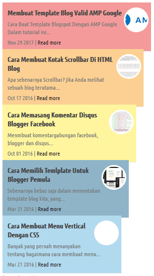 recent post widget keren blogger