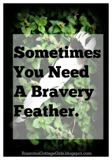 Photo of a white and black feather with text that says | sometimes you need a bravery feather | rosevinecottagegirls.com | Sometimes you need a bravery feather Courage beyond yourself Courage, Have Courage, Be Brave, Bravery Feather, Fear Not, by Rosevine Cottage Girls