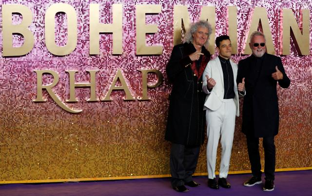 Actor Rami Malek and members of Queen Roger Taylor and Brian May attend the world premiere of 'Bohemian Rhapsody' movie in London.