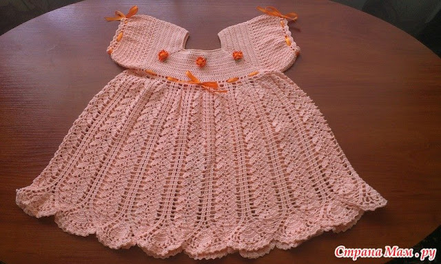 Crochet dress with graphic for girls with very delicate model free