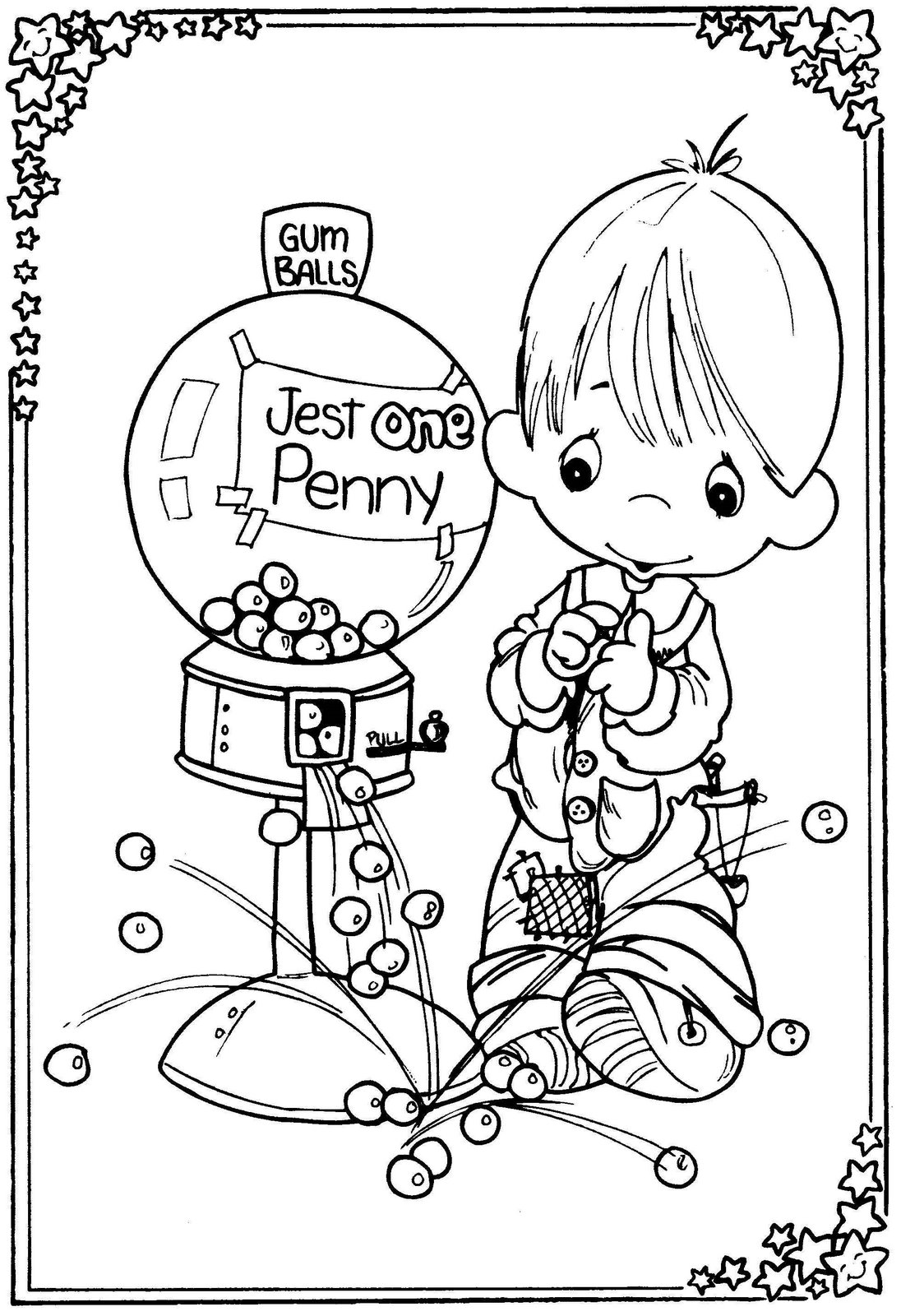 Precious Moments Drawings Child With Chewing Gum Machine