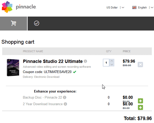 Pinnacle Studio 22 discount coupon code