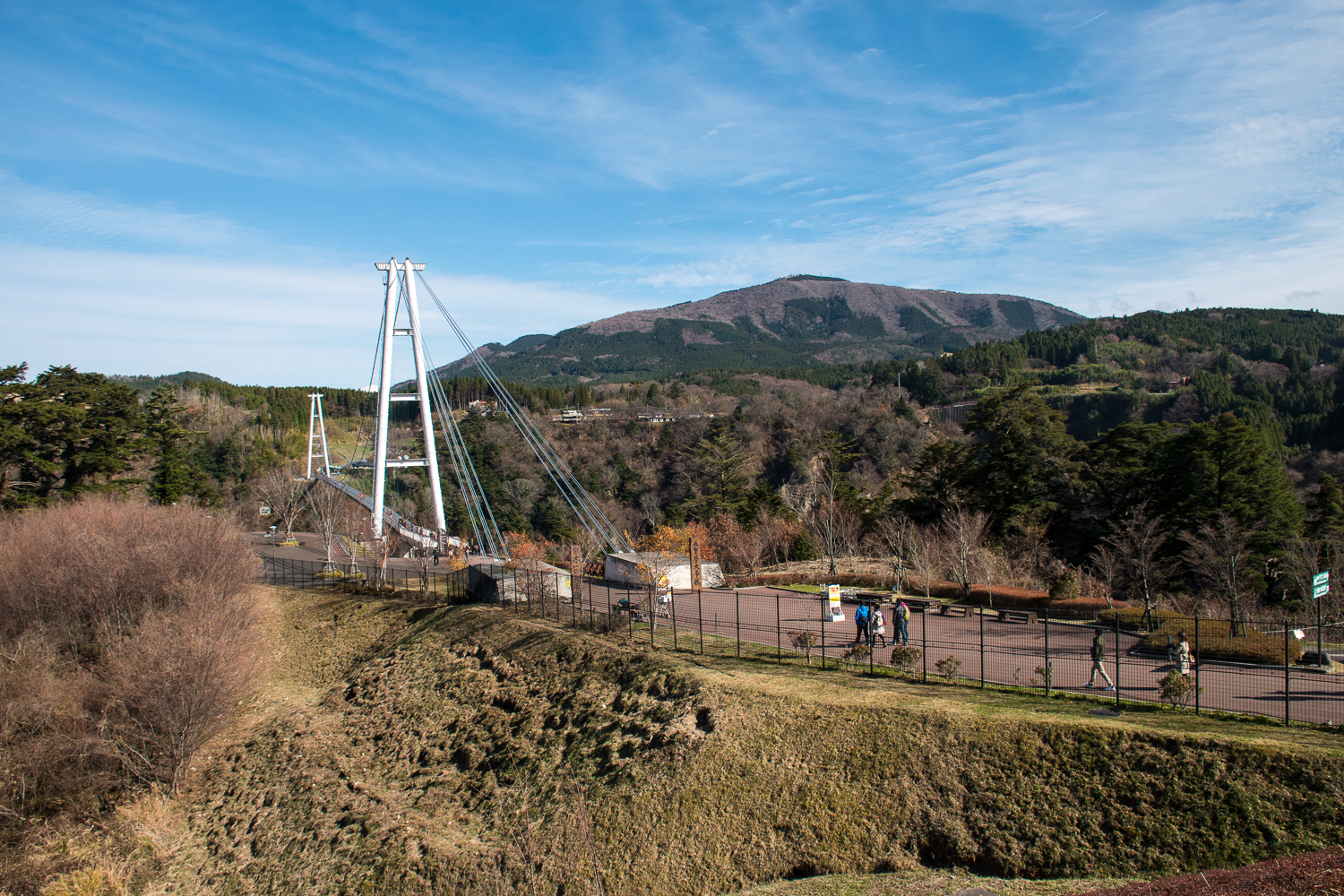 Crossing a suspension bridge and nature views in japan