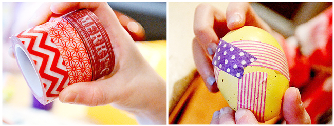using washi tape on easter eggs, decorating for easter