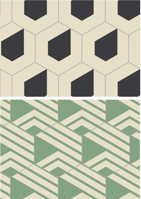 azulejos hexagonales de la firma Bisazza, hechos en Tunez, color beige y negro, o beige y verde