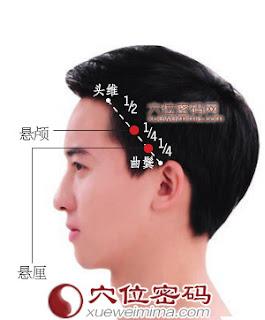 懸顱穴位 | 懸顱穴痛位置 - 穴道按摩經絡圖解 | Source:xueweitu.iiyun.com