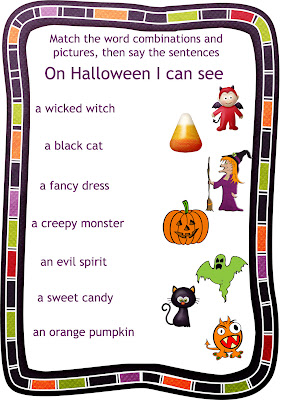 Halloween worksheet three for the song