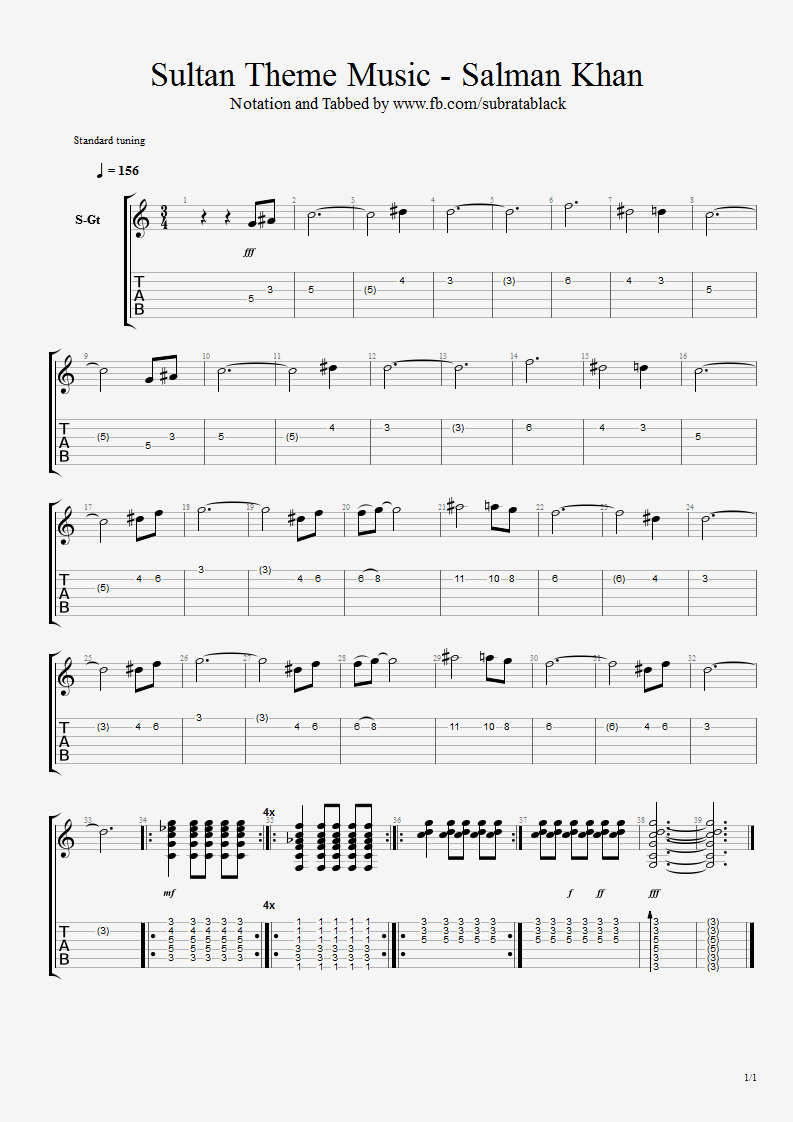 Guitar Chord Tab Lyric And Tutorial Sultan Theme Music With Tab And