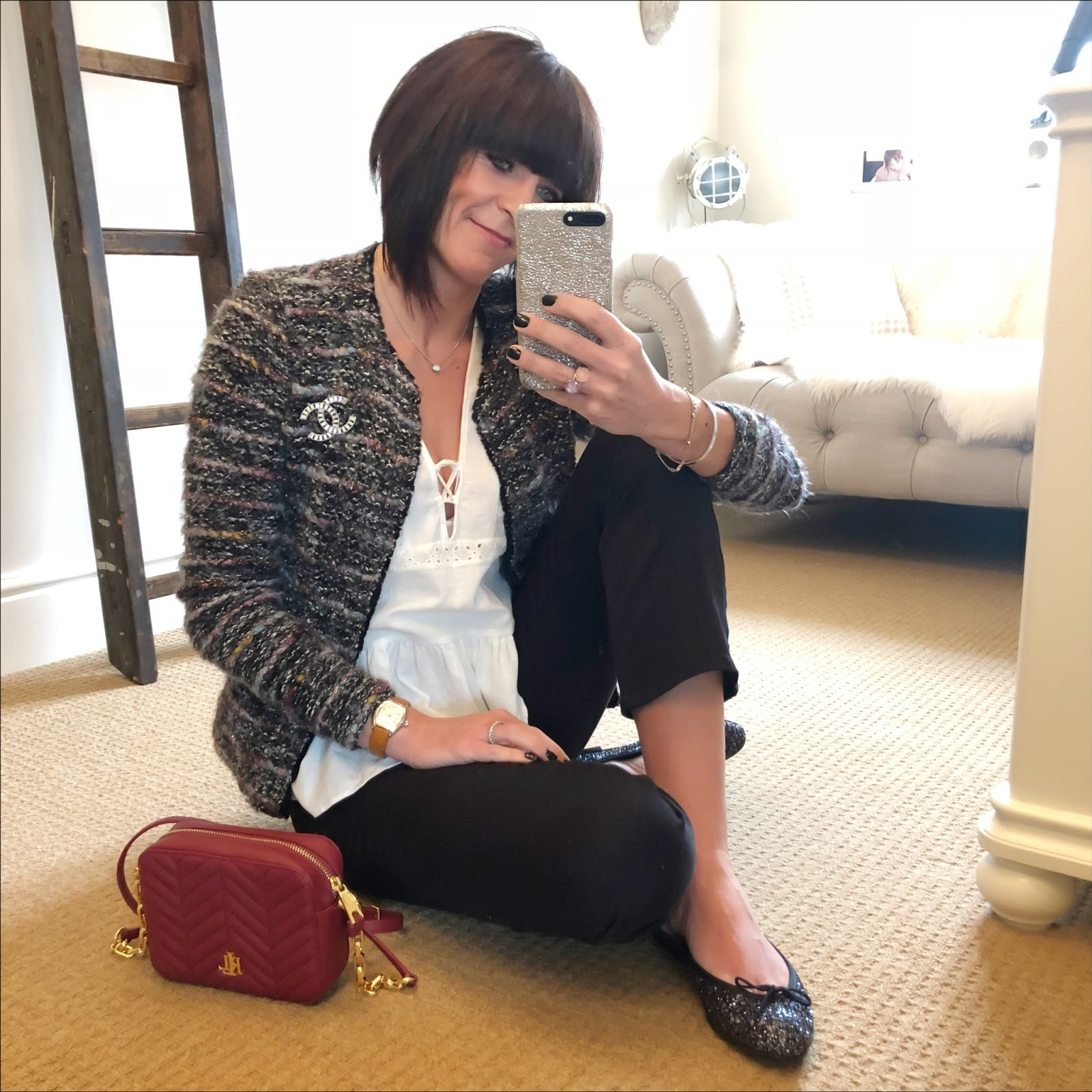 my midlife fashion, chanel vintage brooch, zara embroidered top, isabel marant etoile boucle wool jacket, lauren ralph lauren payton small cross body bag, j crew billie demi crop kick flare jeans, french sole glitter ballet pumps