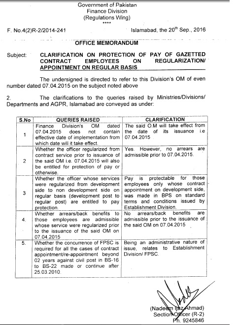 CLARIFICATION ON PROTECTION OF PAY ON GAZETTE CONTRACT EMPLOYEES ON REGULARIZATION / APPOINTMENT ON REGULAR BASIS